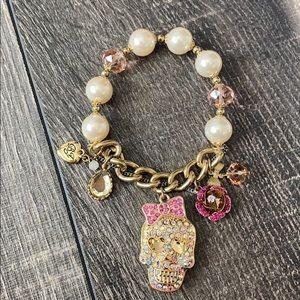 Betsy Johnson pearl and skull bracelet